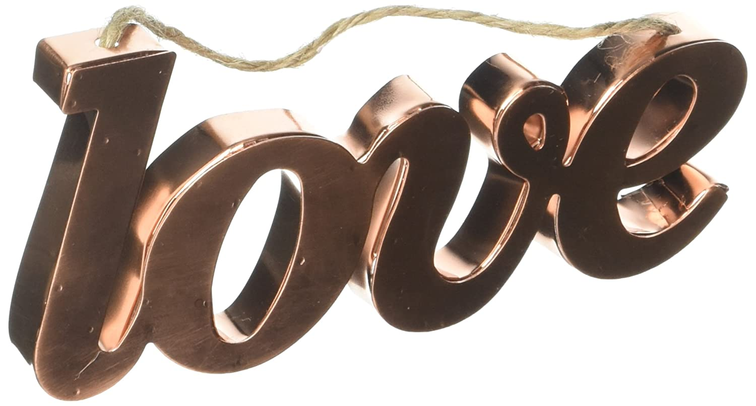 Darice Copper Word Ornaments with Jute Hanger-Love 30009563