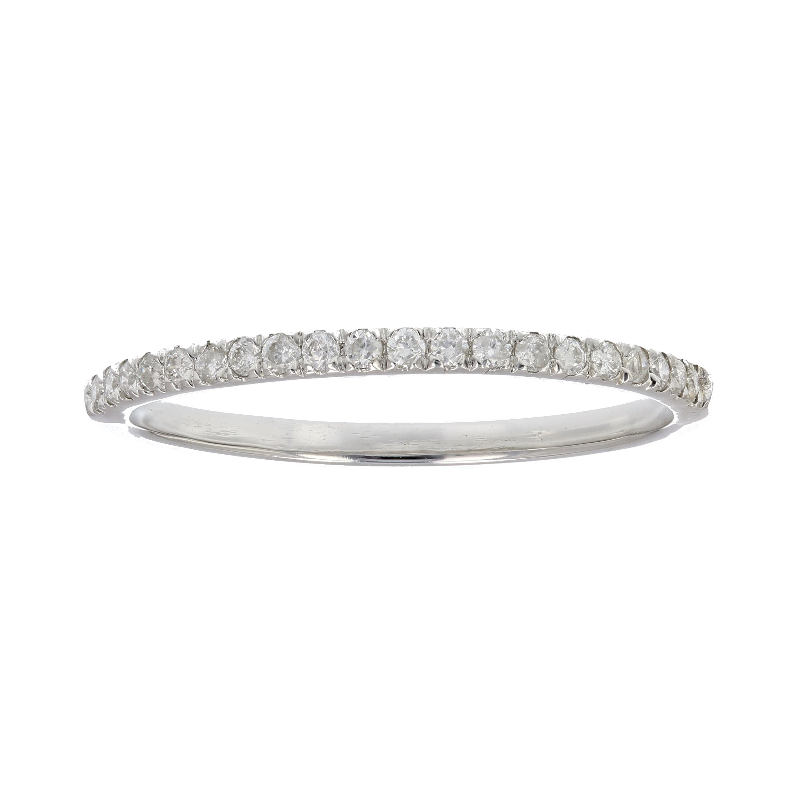 1/6 ctw Micropave Diamond Wedding Band in 10K White Gold In Size 9