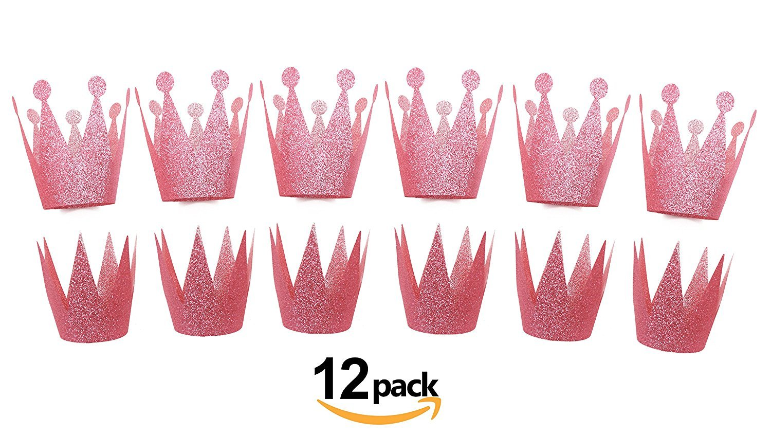 Get Orange Birthday Princess Prince Party Crowns for Kids - Bling Birthday Party Hats- 12ct (Pink)