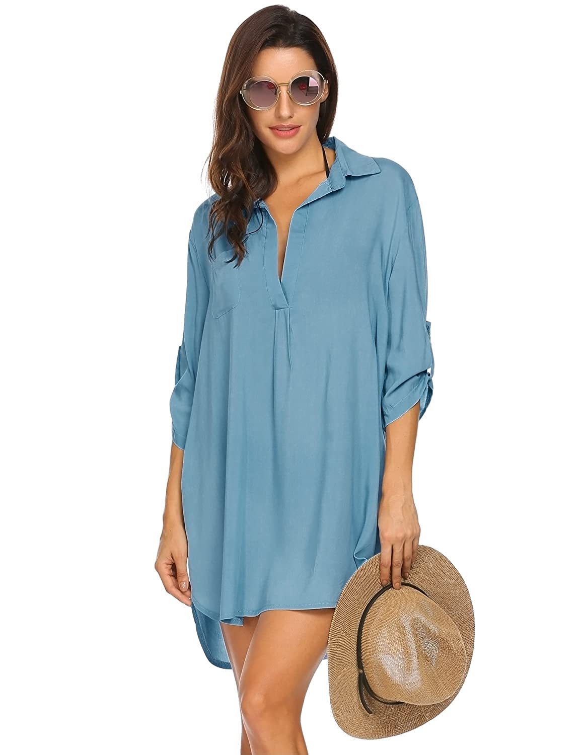Damen Bikini Cover Up Strandkleid Chiffon Tunika Strandponcho Sommer Strand Vertuschen Shirt Dress