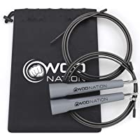 WOD Nation Speed Jump Rope - Blazing Fast Rope for Endurance training for Sports like Cross Fitness, Boxing, MMA, Martial Arts or Just Staying Fit - Fully Adjustable to Fit Men, Women and Children - GREY