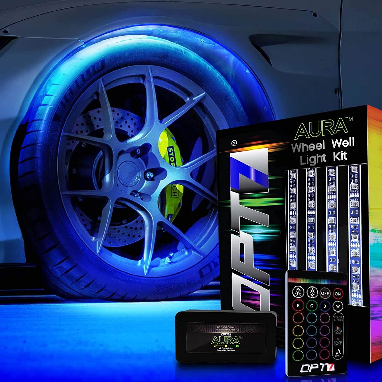 4pc Complete 24 Multi-Colour Strips OPT7 3-Into-1 AuraColor/™ Wheel Well LED Kit