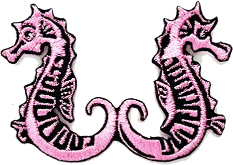 PINK SEAHORSE SEA HORSE   Embroidered Iron Sew On Cloth Patch Badge APPLIQUE