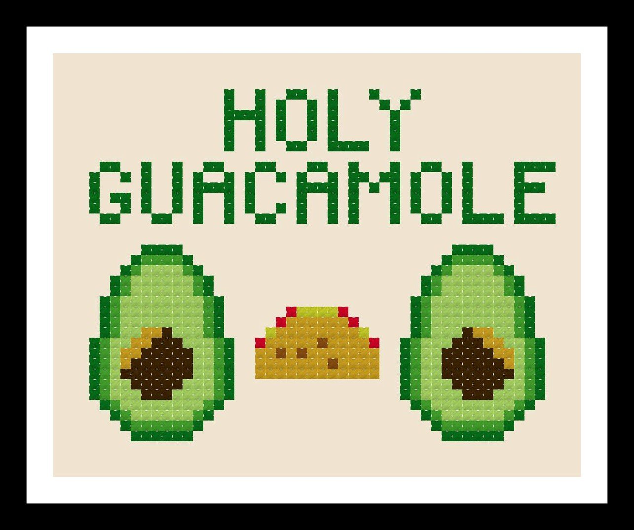 Counted Cross Stitch Pattern. Holy Guacamole