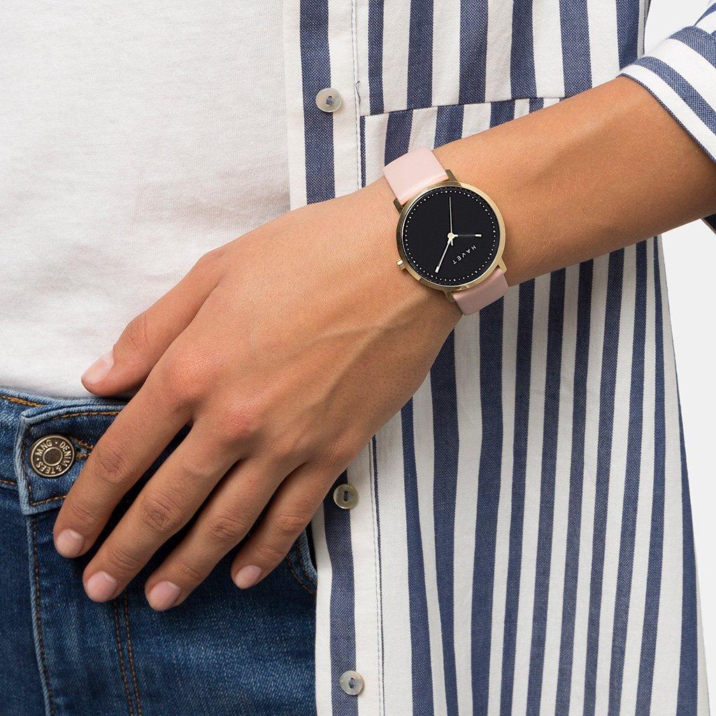 HAVET | Reloj de mujer Dyna de acero color oro esfera negra y correa de piel rosa: Amazon.es: Relojes