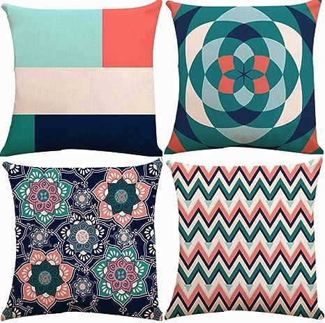 "18/"" Cotton Linen Geometric Cushion Cover Throw Pillow Case Sofa Home Decor"