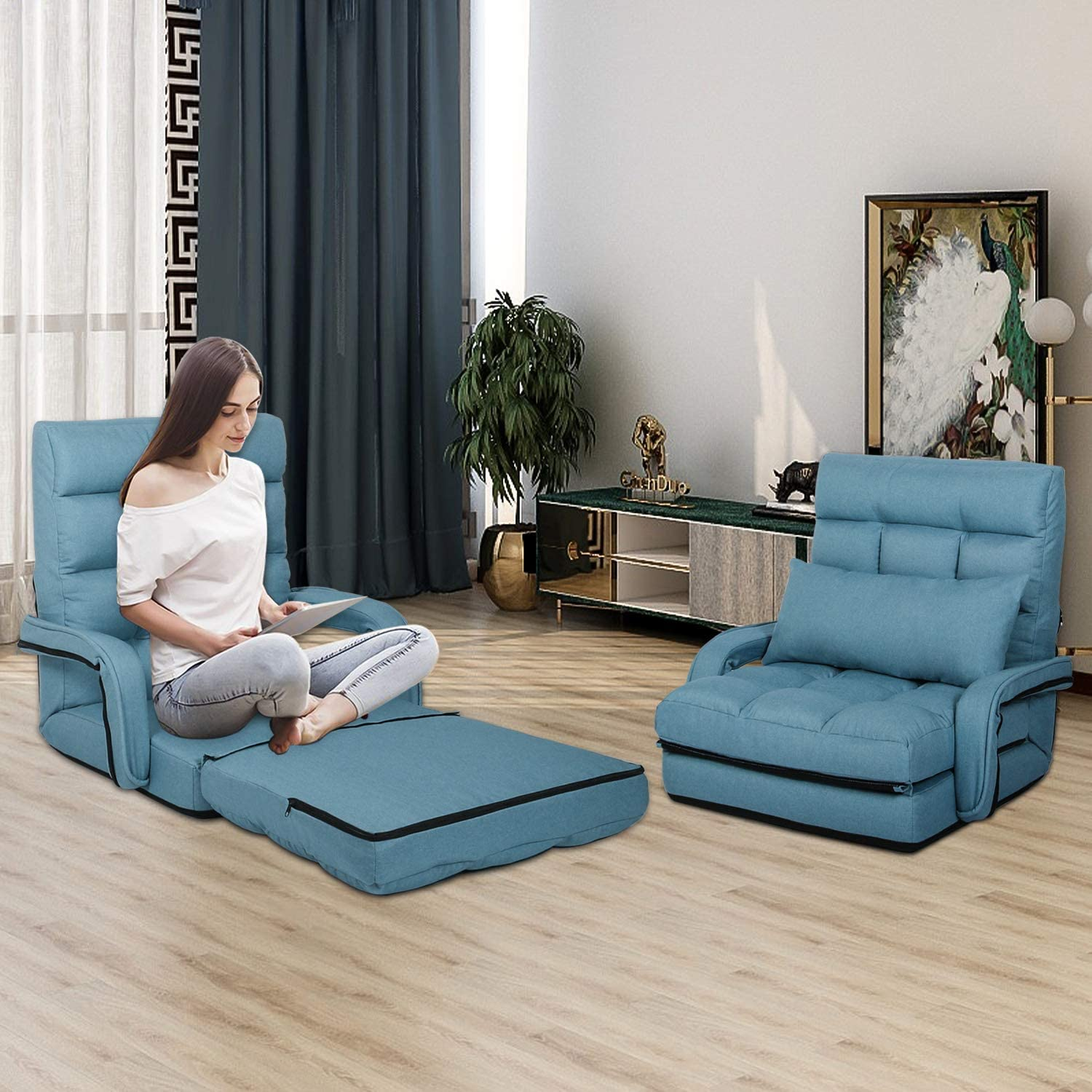 STHOUYN Chaise Lounge Indoor, Folding Floor Lazy Sofa Bed Chair 5-Position Adjustable Gaming Recliner Chair Comfortable Padded Seats with Armrests a Pillow, Chaise Couch Living Room (Blue)