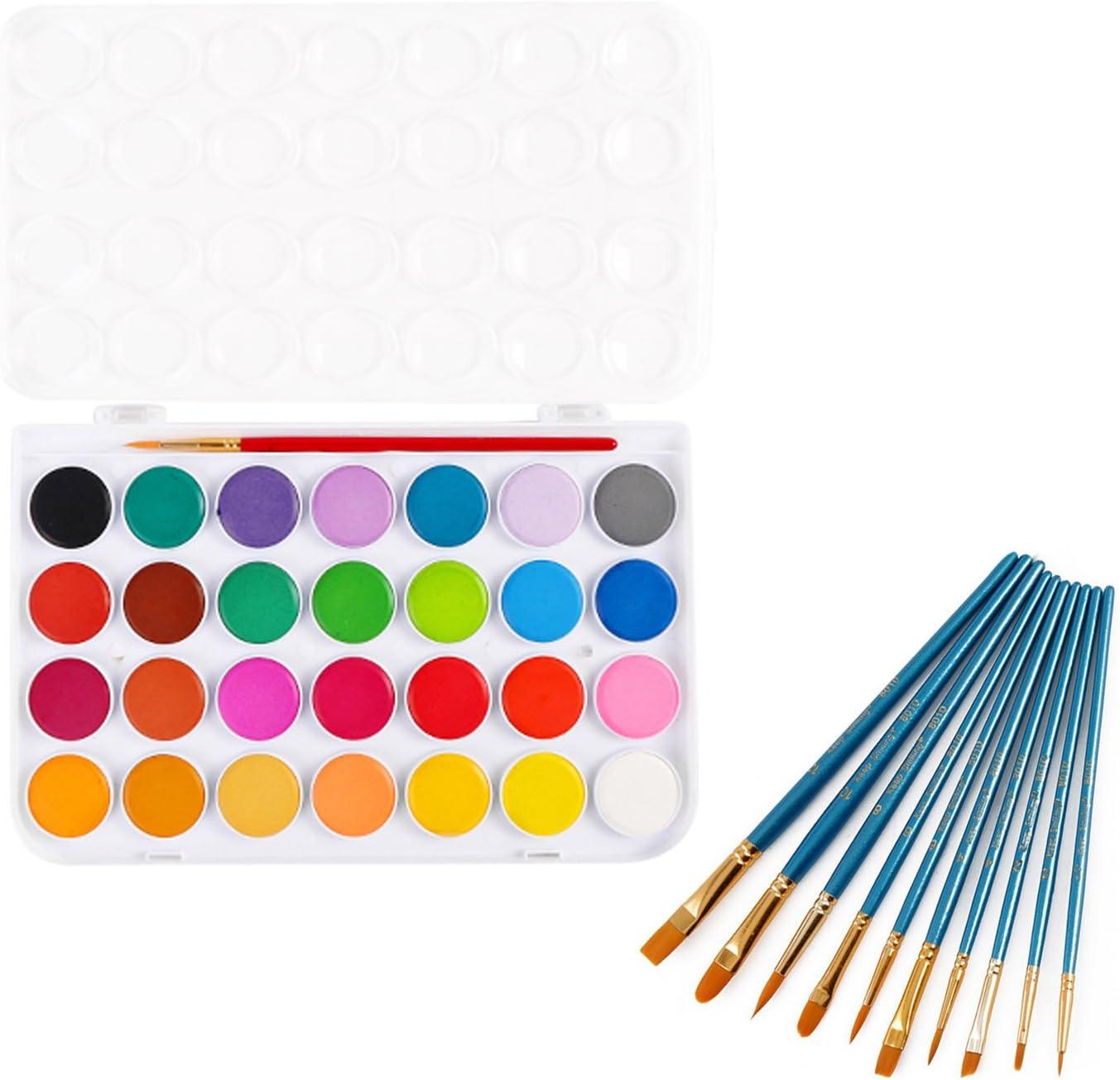 Acuarelas niños,Acuarelas Van gogh,28 Colores Profesionales de la Pintura del Arte de la Acuarela Set + 10 Pinceles para Acrílico Acuarela Pintura Estudiantes Maestros Artistas: Amazon.es: Oficina y papelería