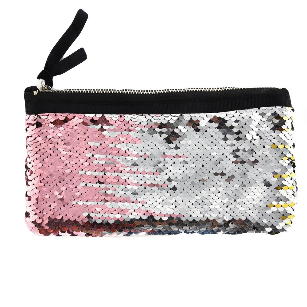 Clearance! Women Make-up Bag Double Color Sequins Coin Cards Holder Purse Wallet Pencil Pouch (R)