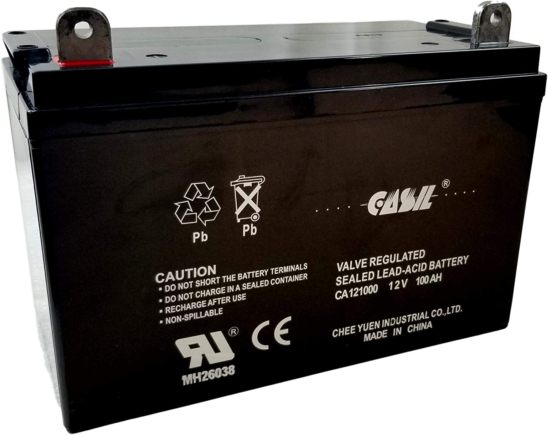 Casil 12v 100ah Battery Rechargeable Deep Cycle AGM SLA VRLA Battery for Solar System, RV, Camping, Trolling Motor in Series 24V 36V 48V