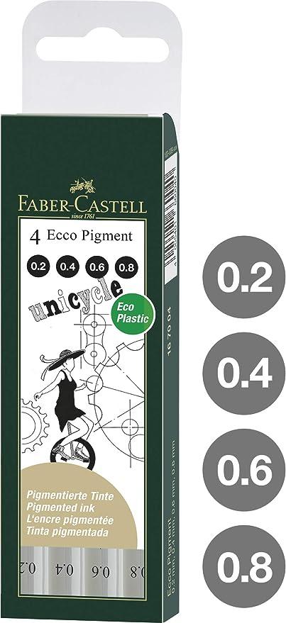 Faber Castell 167004 - Estuche con 4 rotuladores calibrados ECCO Pigment con grosores de trazo de 0.2, 0.4, 0.6, 0.8, color negro: Amazon.es: Oficina y papelería
