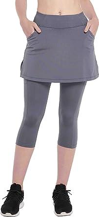 HOOUDO Women Skirt Yoga Pants Leggings Cropped Pants Capri Leggings Women Trousers Gym Sport Exercise Workout Tennis