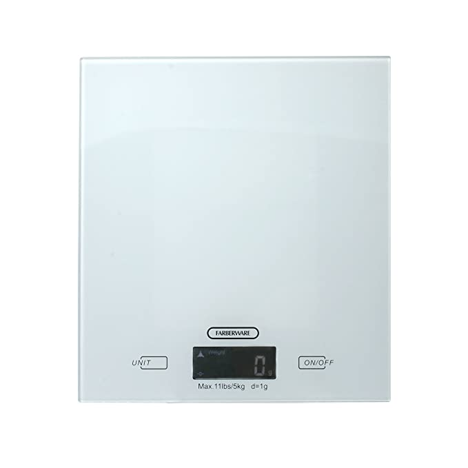 Amazon.com: Farberware Professional Glass Top Digital Kitchen Scale, White: Kitchen & Dining