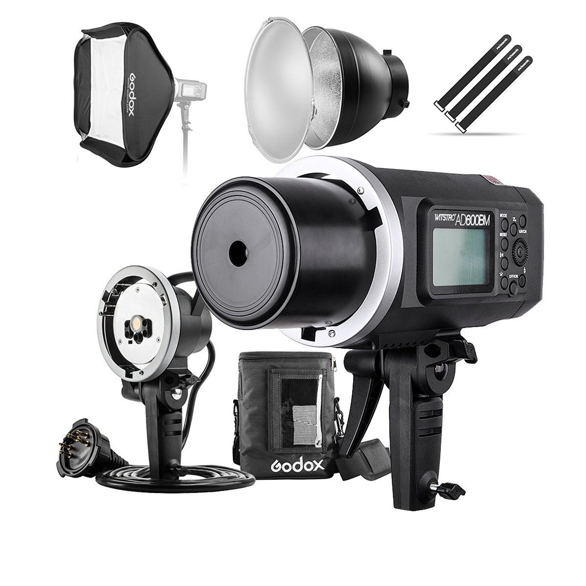 Godox AD600BM 600Ws GN87 HSS Flash Strobe Monolight with 8700mAh Battery, 600W Portable Lamp Flash Head, 23''X23'' Flash Softbox, 7'' Standard Reflector, 7'' Flash Diffuser and Portable Flash Bag by Godox