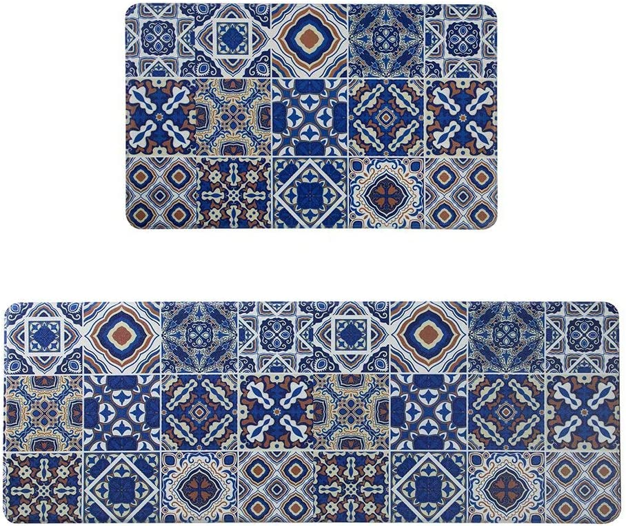 "Lidimei Anti Fatigue Kitchen Floor Mats Memory Foam Thick Cushioned Rugs for Kitchen Set of 2 Non Slip Waterproof Comfort Standing Mat 17""x47""+17×28"" Blue Bohemia"
