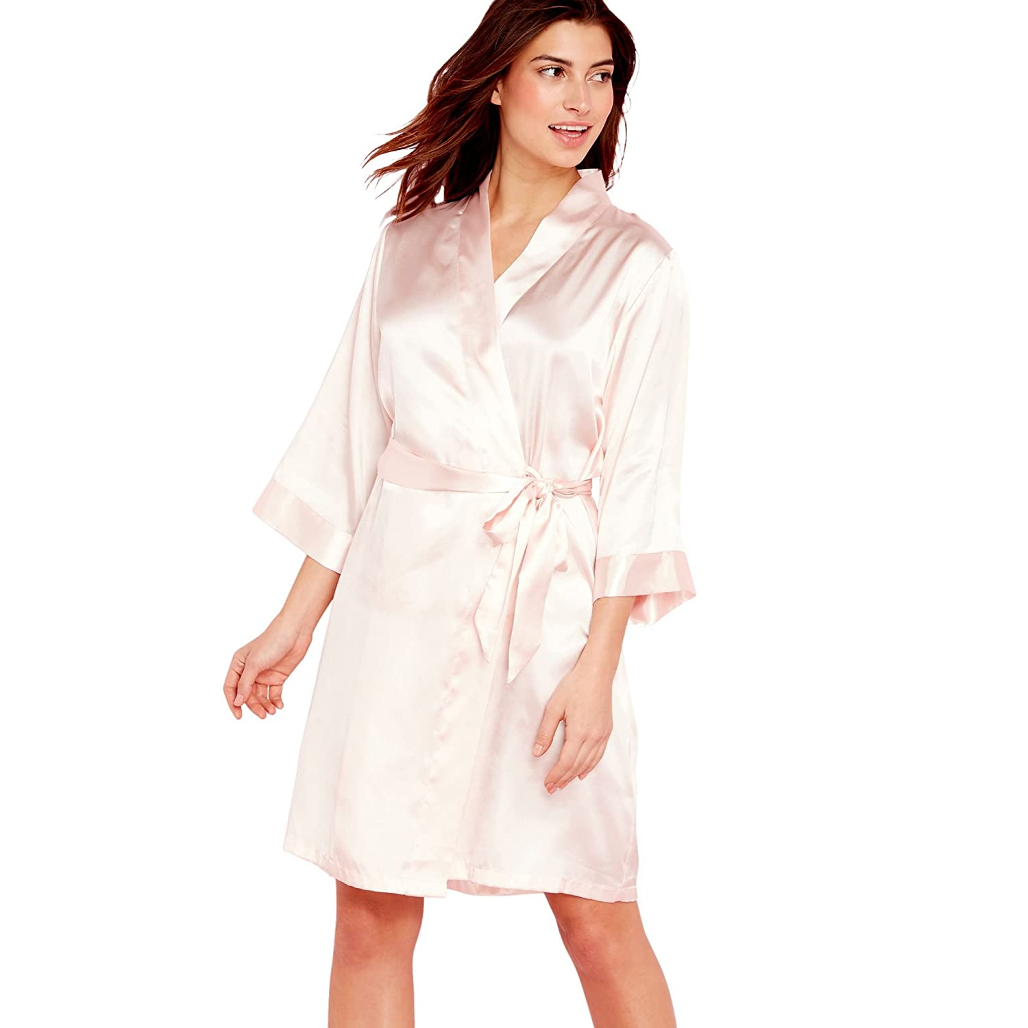 223c9ae183 Debenhams Pale Pink Satin  Team Bride  3 4 Length Sleeve Dressing Gown 16  to 18  The Collection  Amazon.co.uk  Clothing
