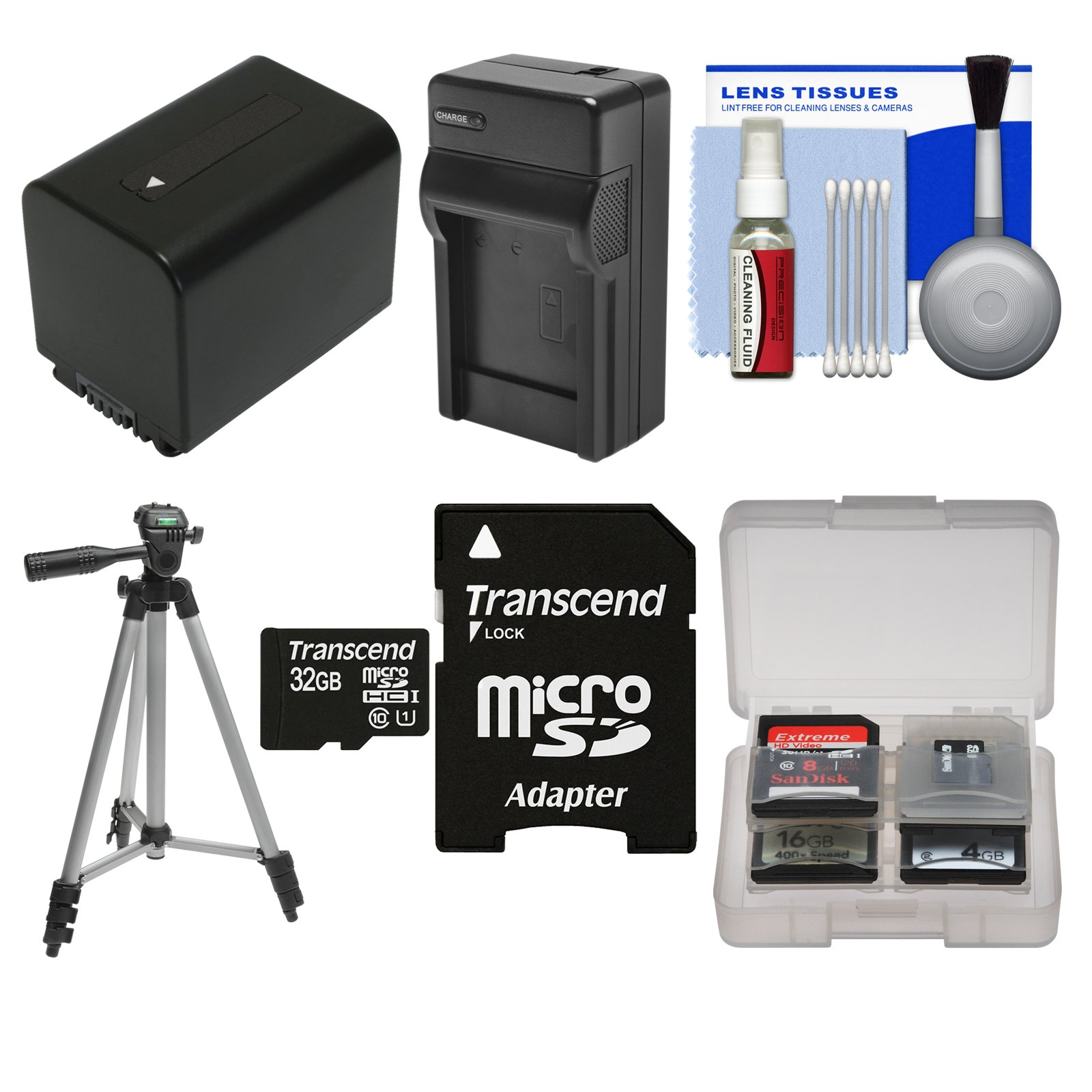 Essentials Bundle for Sony Handycam HDR-CX455, CX675, PJ670, PJ810, AX33, AX53, AX100, AX700 Camcorders with 32GB Card + NP-FV70 Battery & Charger + Tripod Kit