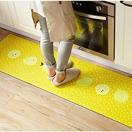 Ukeler Non Slip Rubber Backing Kitchen Rugs Yellow Lemon Decorative Floor  Mat Indoor/Outdoor