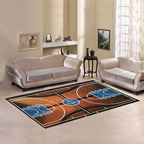 Custom Sports Basketball Court Area Rug Floor Mat 7u0027 X 5u0027 Feet, Boyu0027s