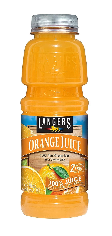 Langers 100% Orange Juice, 15.2 Oz, Pack Of 12
