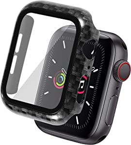 Insten Case Compatible with Apple Watch 44mm Series SE 6 5 4, Built in Tempered Glass Screen Protector Carbon Fiber Pattern Hard Cover, Full Protection, Black