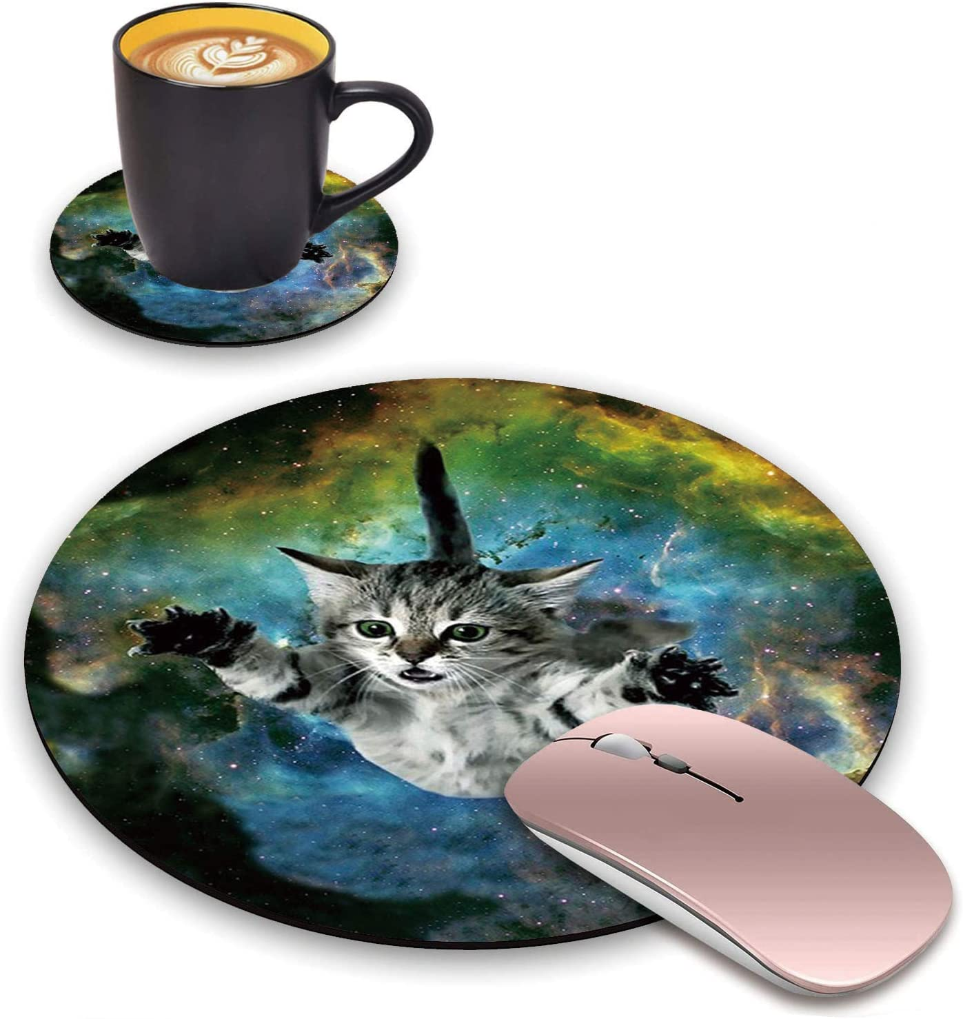 BWOOLL Round Mouse Pad and Coasters Set, Galaxy Nebula Space Cat Design Mouse Pad, Non-Slip Rubber Base Mouse Pads for Laptop and Computer