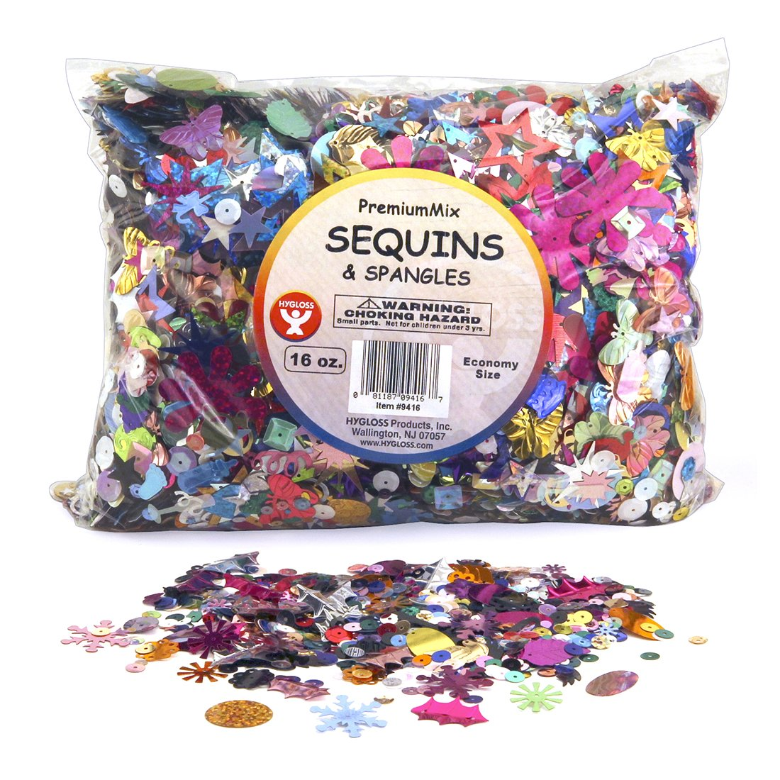 Hygloss Products Sequins and Spangles Variety Pack- Add Shimmer and Shine to Any Surface- 16 Ounce Bag by Hygloss