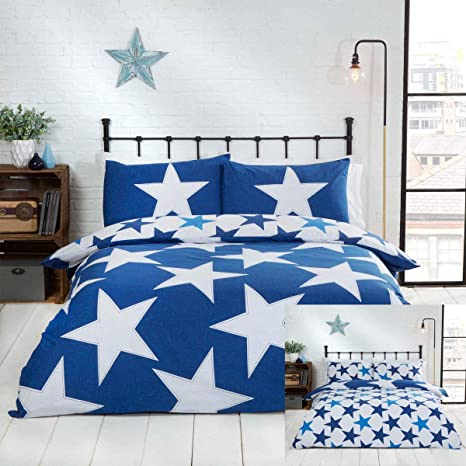double King Size Moon and Stars Reversible Duvet Cover Set Single