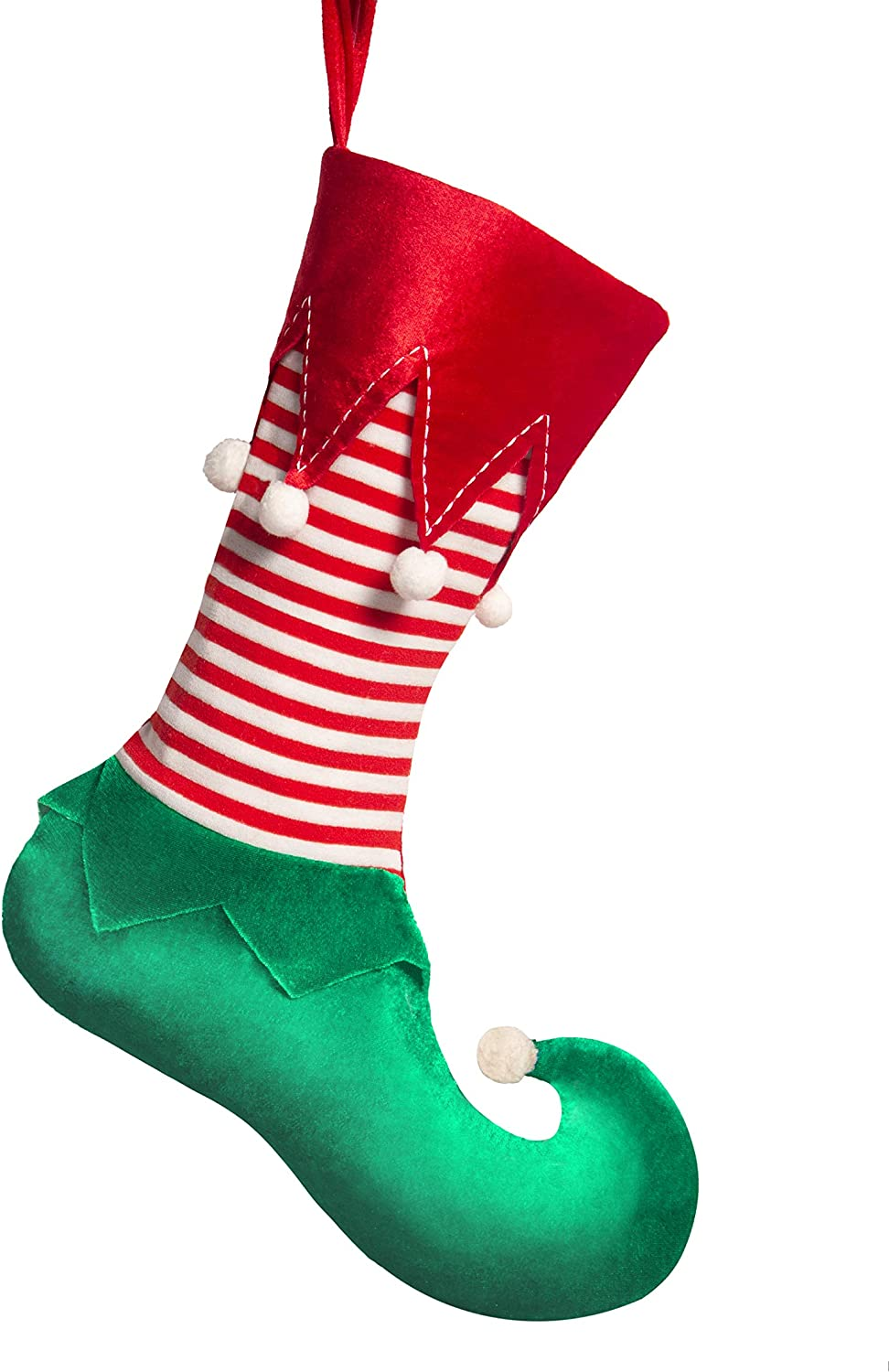 Worldeco Christmas Stocking Home Decorations Gifts Funny Elf Pattern Xmas Present Socks Dot Faux Fur Cuff 21in