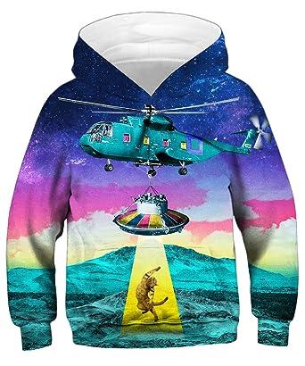 0d799cb7c522 Amazon.com  GLUDEAR Teen Boys Girls Novelty Animal Galaxy Hoodies ...