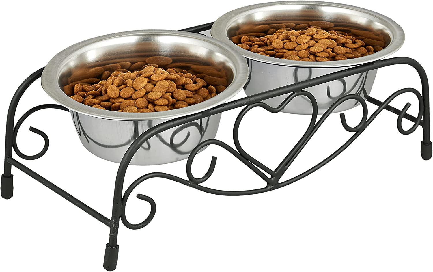 Elevated Cat Food Bowls Set – Peet Feeder Raised Cat Bowls for Food and Water - Metal Stainless Steel Elevated Pet Dishes Bowls with Wire Rack Stand – Small Cats and Small Dogs Bowls - Dishwasher Safe
