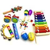 Musical Instruments Set for Kids and Toddlers, 12Pcs Wooden Percussion Instruments Toys for Kids Playing Preschool…