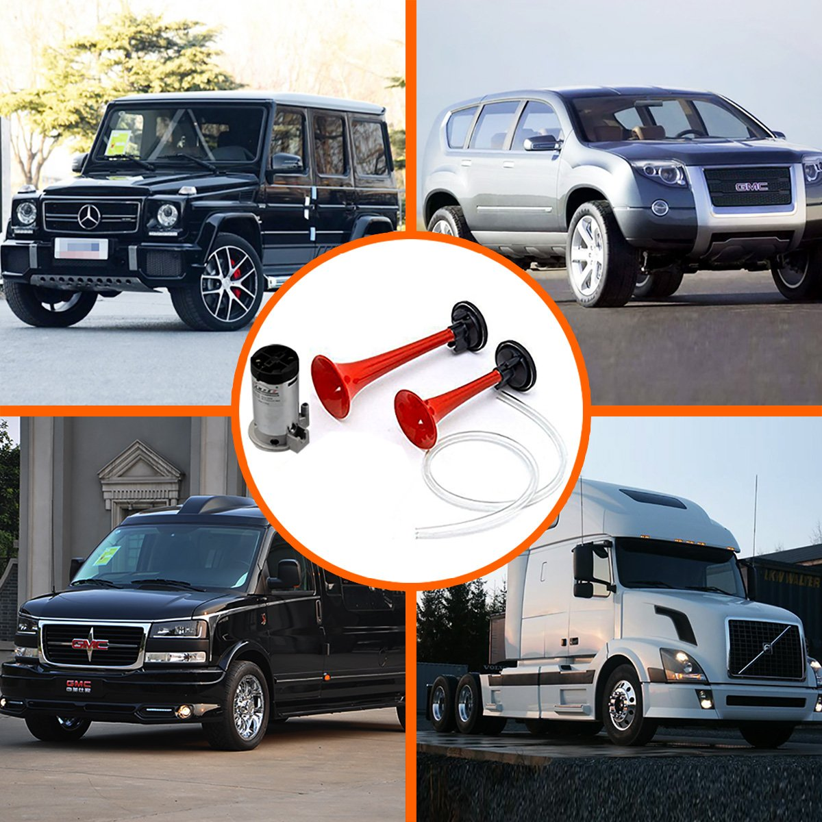 Dual Trumpet Air Horn with Compressor Super Loud Powerful Train Sound Shiny for Any 12V Vehicles Trucks Lorrys Trains Boats Cars Van GAMPRO 12V 135db Air Horn