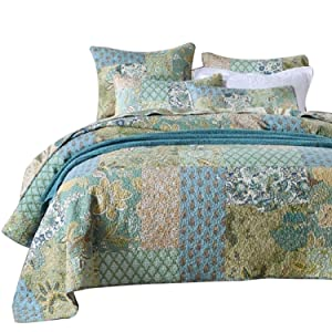 Luckey1 Green Patchwork Quilt Cover Sets King Size, Cotton Quilted Bedspread Sets 3-Piece, 1 Quilt, 2 Pillow Shams (King, Green Patchwork)