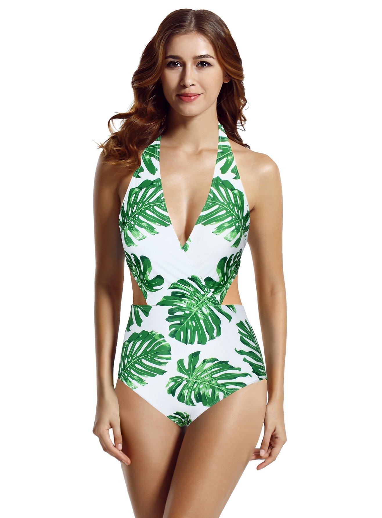 zeraca Women's Surplice Neckline High Waisted Halter One Piece Monokini Swimsuit (Tropical, Medium / 10)