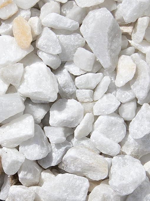 Grava blanca pura mármol. Marmolina blanca, piedra para decoración en jardín en sacas de 1000kg. Disponible en formatos 9-12mm y 16-25mm. (16-25mm): Amazon.es: Jardín