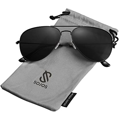 409ae449a7227 SOJOS Classic Aviator Polarized Sunglasses Mirrored UV400 Lens SJ1054 with  Black Frame Grey Polarized Lens