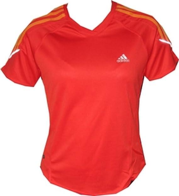 Adidas 3-S S/S Tee ClimaLite de Mujeres Running camiseta en rojo Tamaño S/M, Sizes:S/M: Amazon.es: Ropa y accesorios