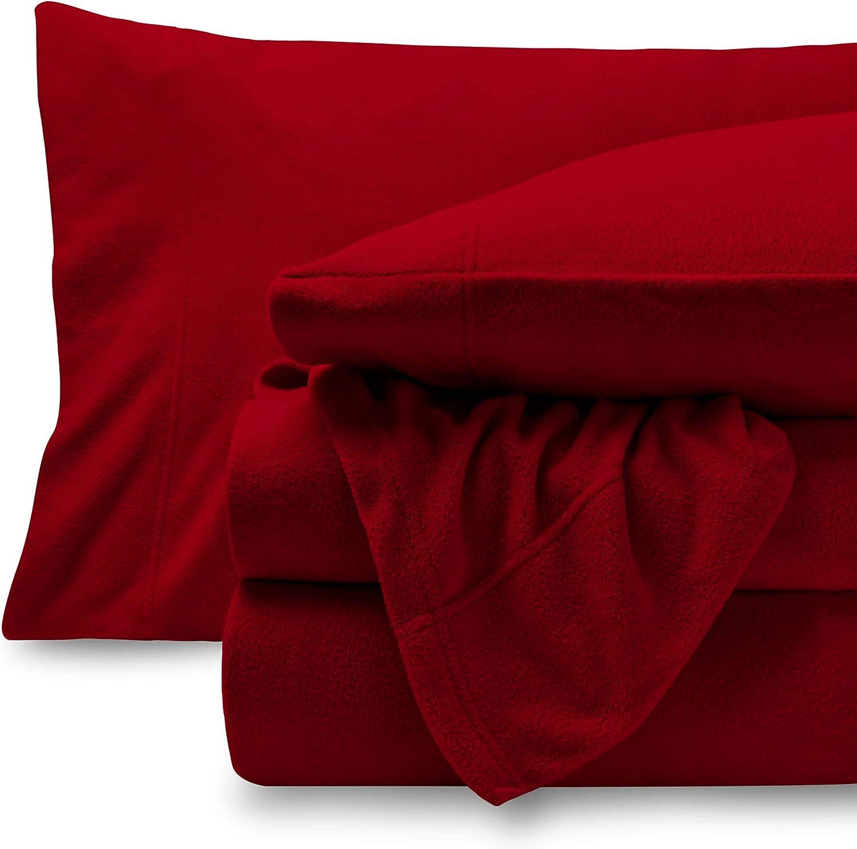 Bare Home Super Soft Fleece Sheet Set - Split King Size - Extra Plush Polar Fleece, Pill-Resistant Bed Sheets - All Season Cozy Warmth, Breathable & Hypoallergenic (Split King, Red)