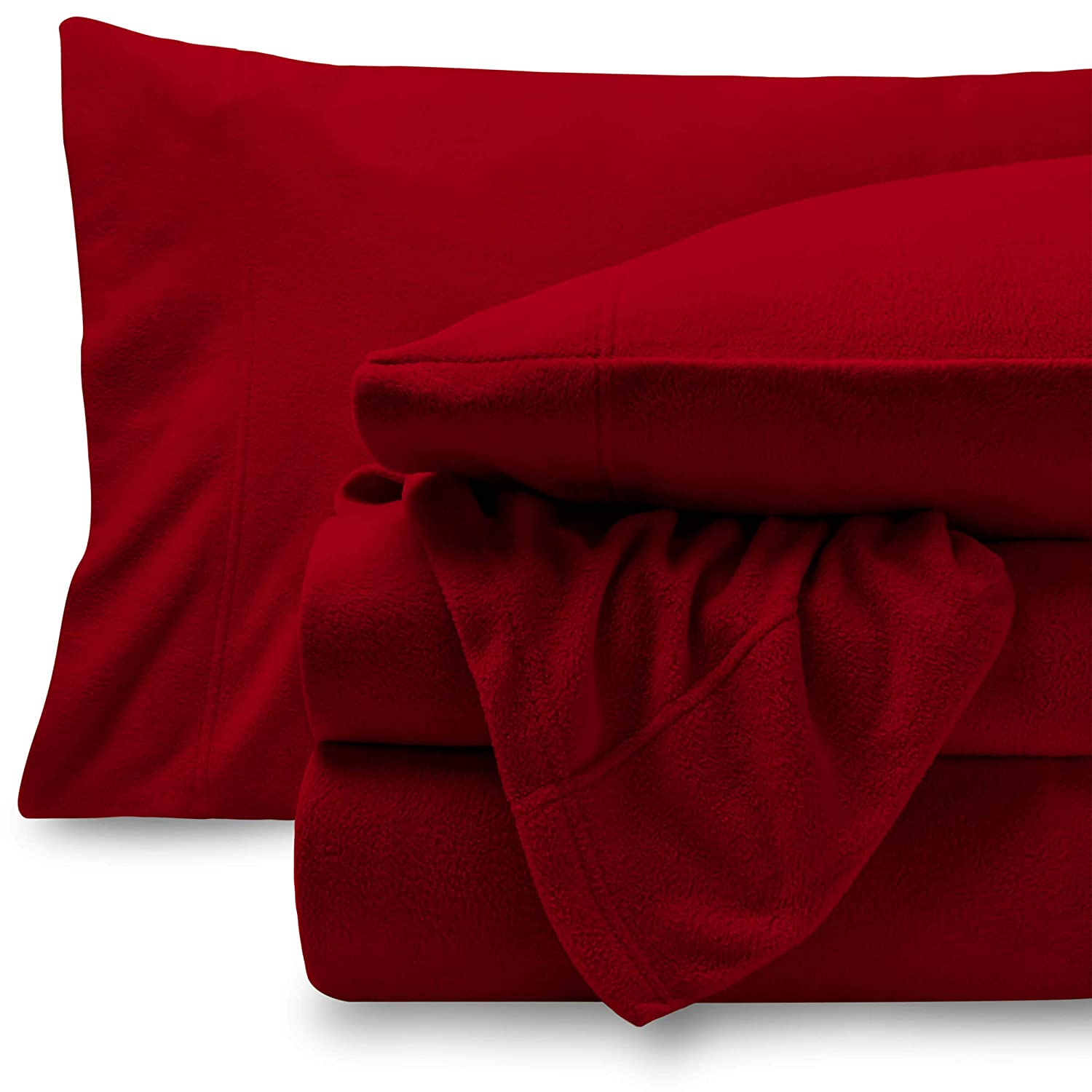Bare Home Super Soft Fleece Sheet Set - Queen Size - Extra Plush Polar Fleece, Pill-Resistant Bed Sheets - All Season Cozy Warmth, Breathable & Hypoallergenic (Queen, Red)