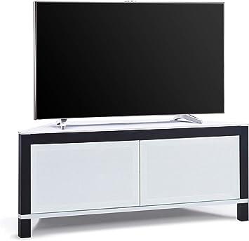 MDA Designs Volans - Mueble esquinero para televisor con pantalla plana de 2 puertas (cristal intercambiable), color blanco y negro: Amazon.es: Electrónica