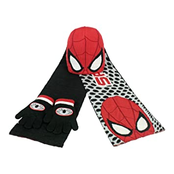 76578739637ba8 Marvel Spiderman - 3 piece Hat, Scarf and Gloves set: Amazon.co.uk ...