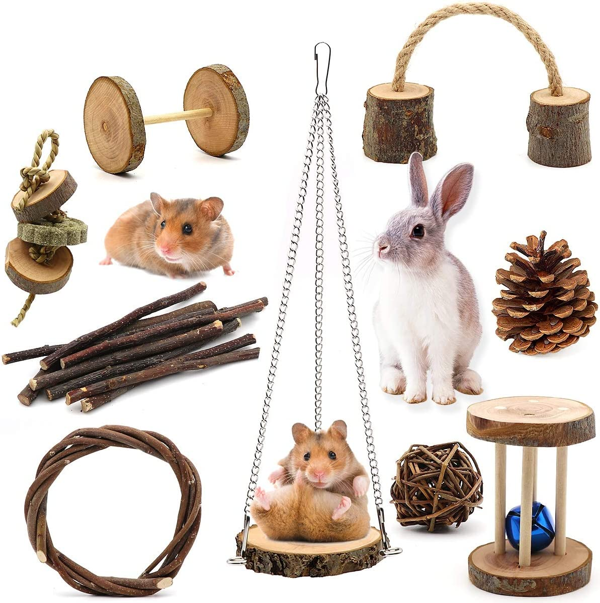 ZALALOVA Guinea Pig Toys, 9Pcs Natural Wooden Pine Hamster Chew Toys Rats Chinchillas Toys Accessories Dumbells Exercise Bell Roller Teeth Care Molar Toy for Bunny Rabbits Gerbils