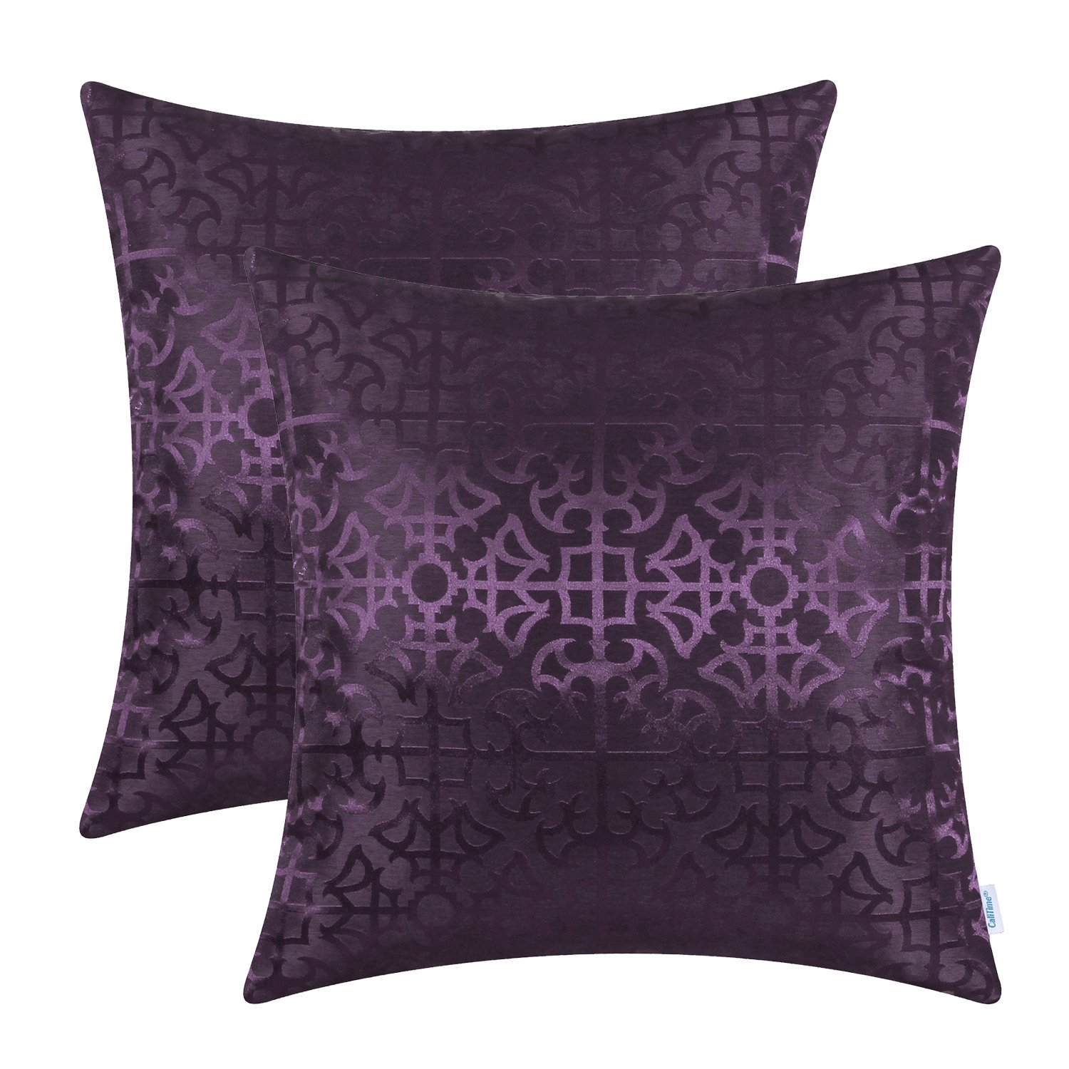 CaliTime Pack of 2 Throw Pillow Covers Cases for Couch Sofa Home Decor Vintage Shining & Dull Contrast Cross Flowers Trellis Geometric Figure 18 X 18 Inches Deep Purple