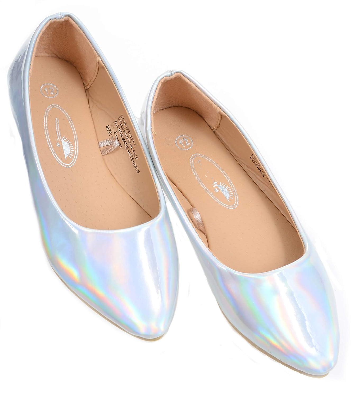 eaa7c5e0ef31e Fourever Funky Iridescent Silver Shiny Girls Slip On Flat Shoes (12 ...