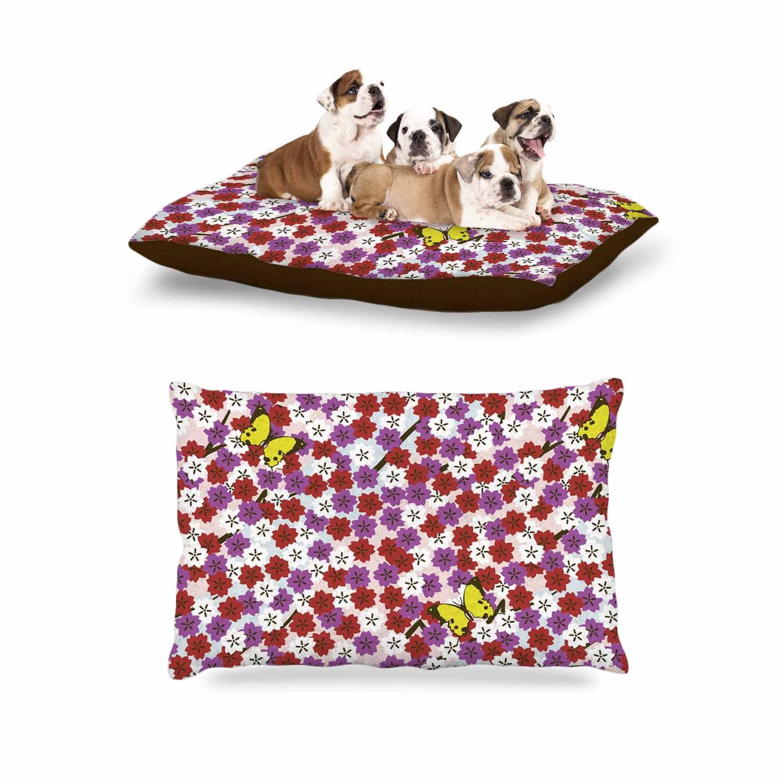 Kess InHouse Setsu Egawa Cherry Blossom & Butterfly Red Pink Dog Bed, 30'' x 40''