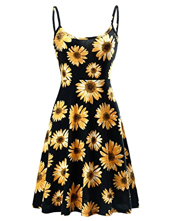 5b628cc85df Fuerfits Women Summer Sleeveless Beach Casual Midi Flared Floral ...