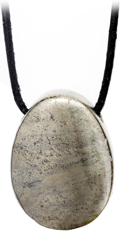 Kaltner Präsente–Regalo Idea–Cadena para Hombre y Mujer de piel con carga piedra colgante de oro de la piedra preciosa pirita Gatos