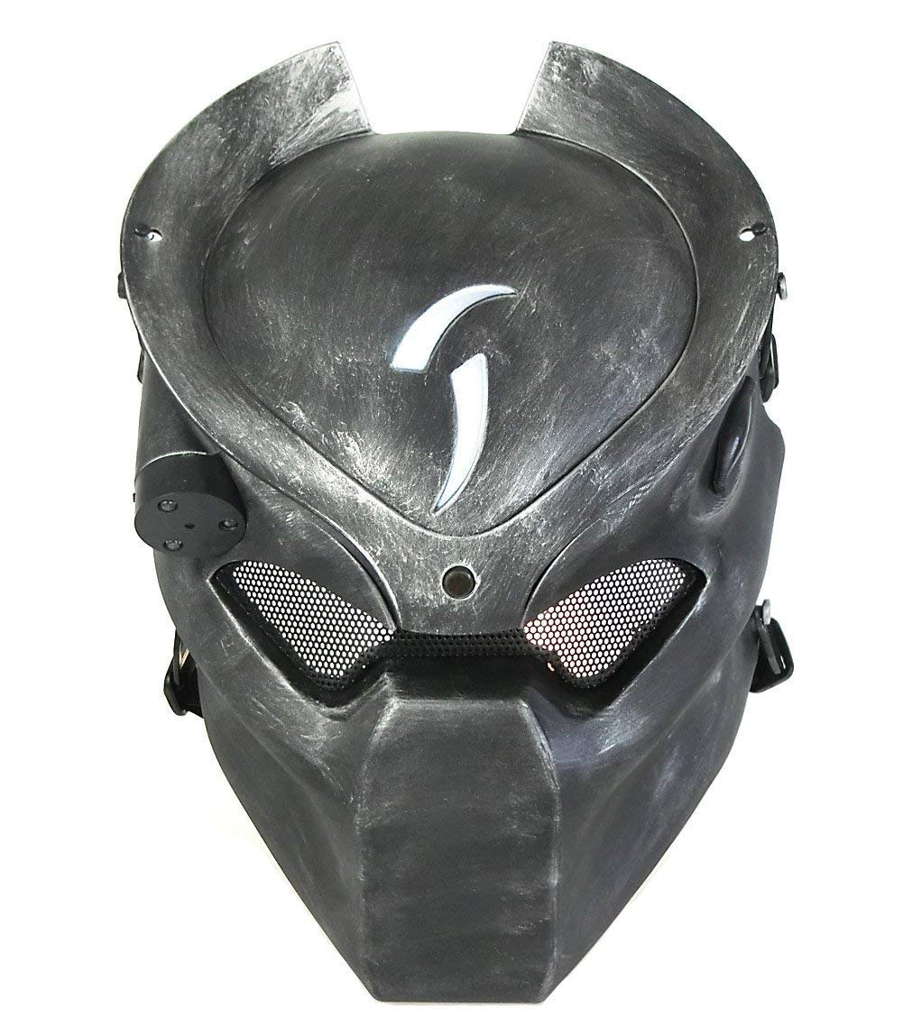 ATAIRSOFT Tactical Protective Airsoft Metal mesh Alien Full Face Mask with Lamp Silver Black by ATAIRSOFT