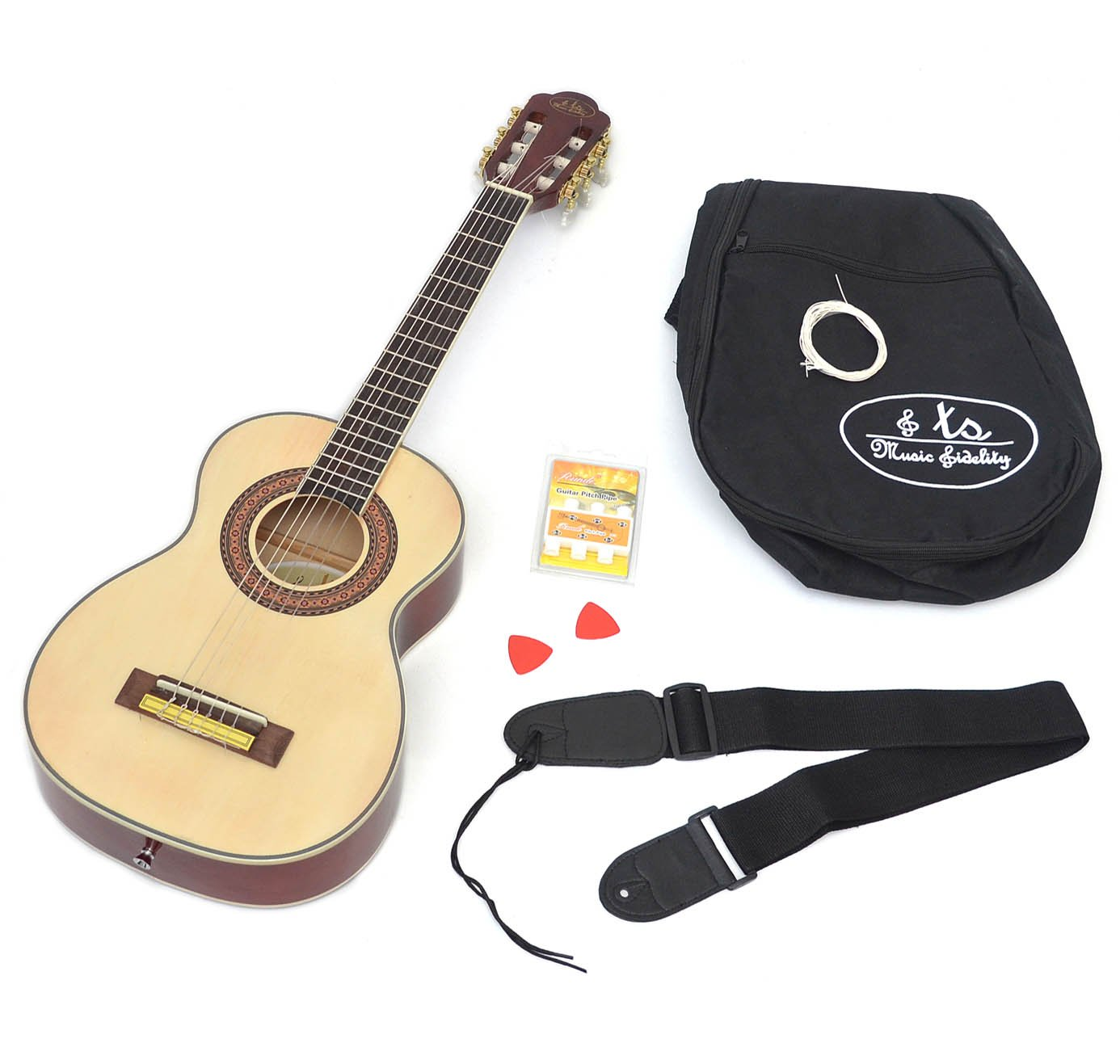 ts-ideen 4532 1/4 Kindergitarre für 4-7 Jahre Akustik Klassik Gitarre Natur mit Zubehörset: gepolsterte Gitarrentasche, Gurt, Satz Saiten, Stimmpfeife und 2 Plektren